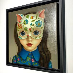 Cat Girl Blue 30x30cm framed