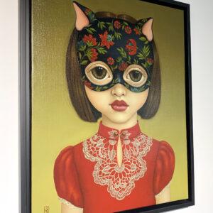 Cat Girl Red 40x50cm framed